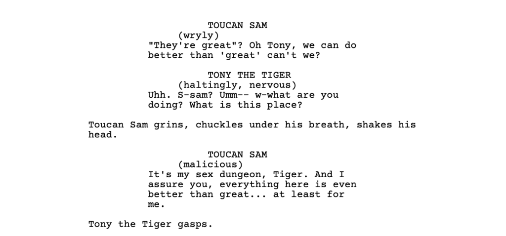 An example screenplay with too much direction for the actors.