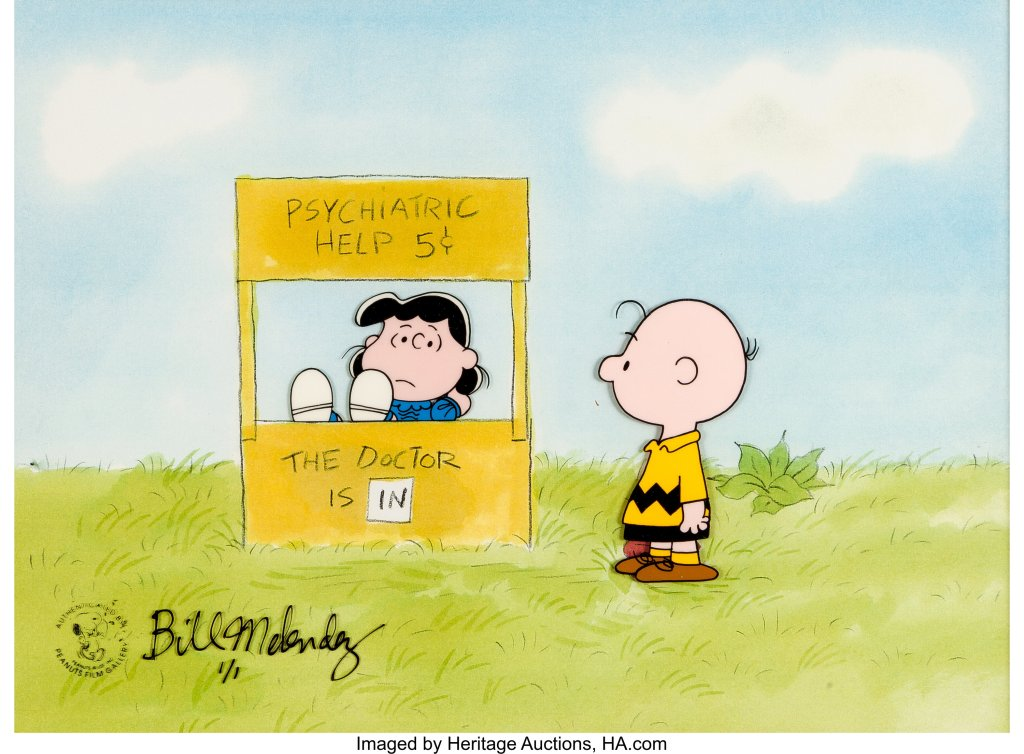 Charlie Brown going to Lucy in her Psychiatric Help Booth; The Doctor is In! The Dialogue Doctor!