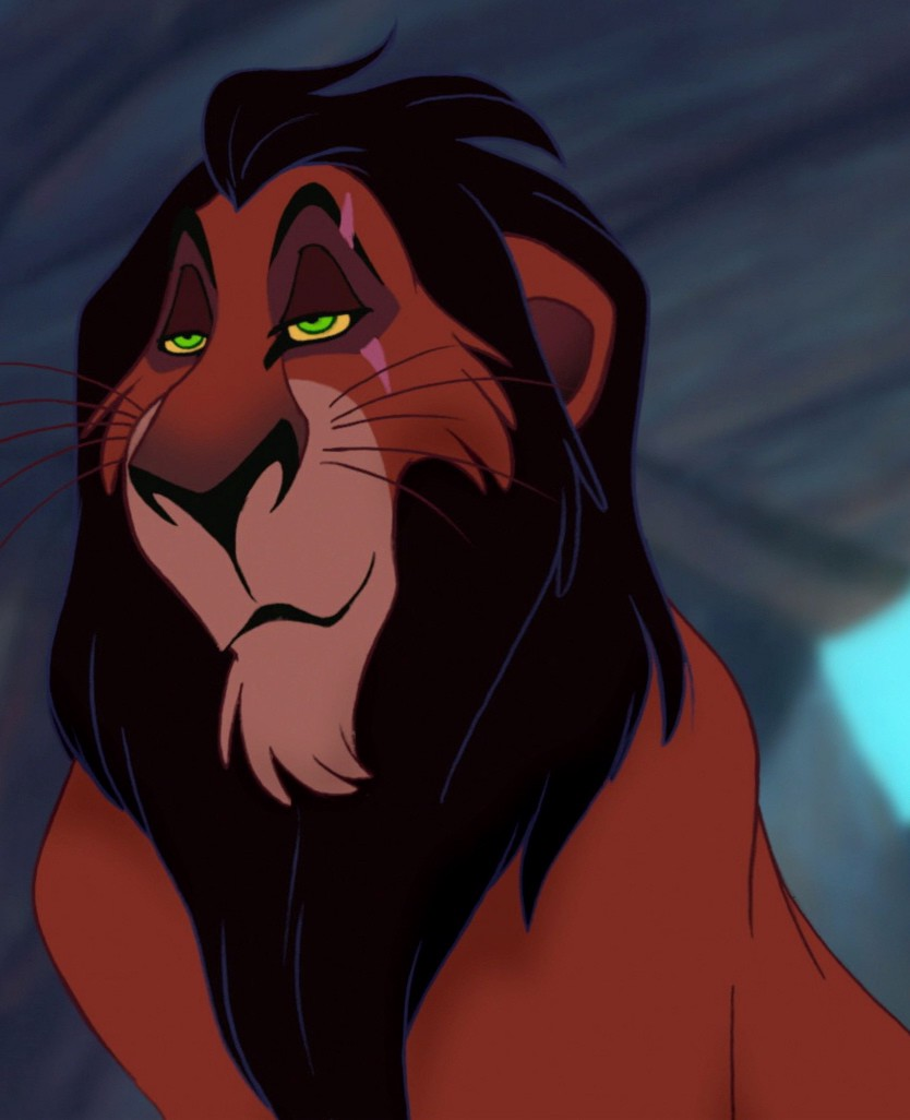 Scar from the animated film, The Lion King. A common depiction of the Queer-coded Villain tropes.