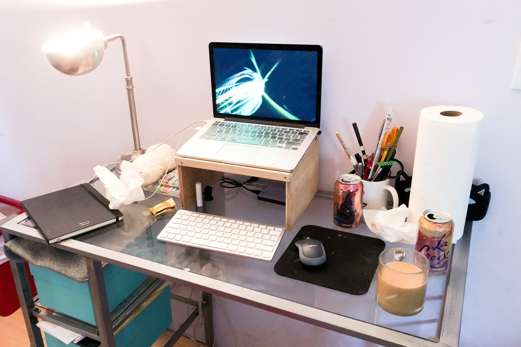 The post-author's messy desk. It's hard to get any work done here!